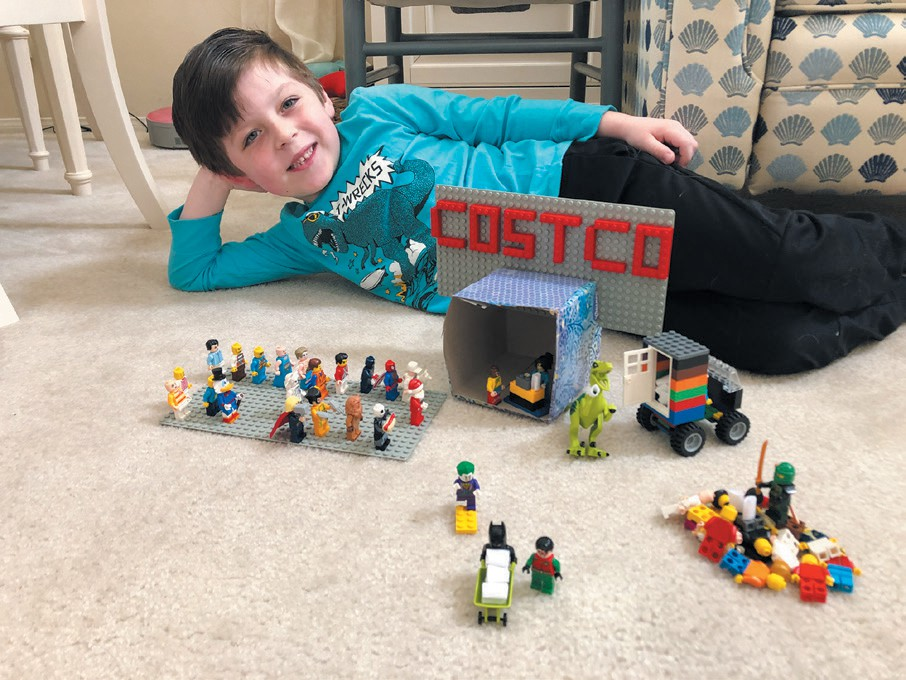 COSTCO DURING COVID—Built by Joshua, 5, it's got everyone, including Batman and Robin who bought a 6-pack of toilet paper and the Joker wants it. Created by Derek Jacobi