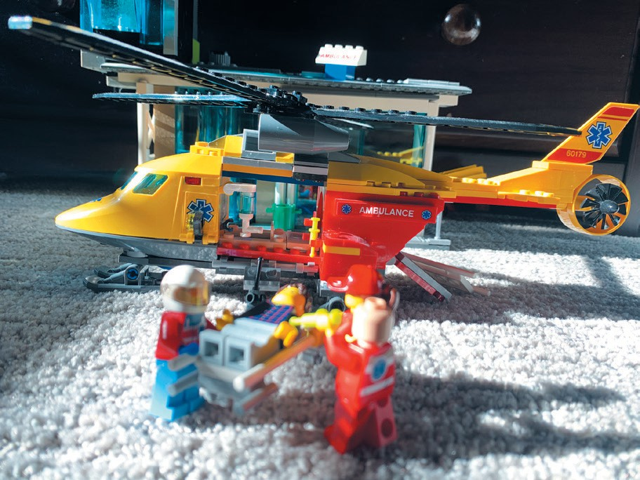 HELP IS NEAR—Dylan's emergency team gets some help. It requires personnel, ambulance helicopter and hospital. Created by Dylan Stein