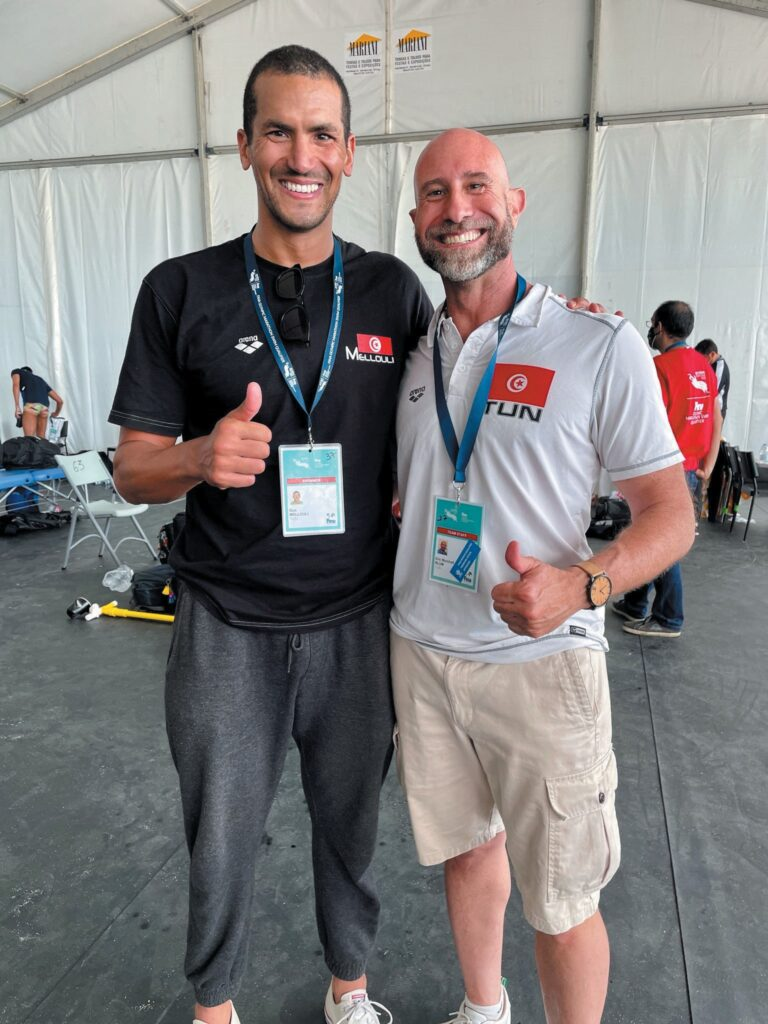 SIXTH SENSE—Ous Mellouli, left, and Eric Blum are bound for the Tokyo Olympics. Mellouli, a swimmer from Tunisia, qualified for his sixth Olympics. Blum is a sports chiropractor from Westlake. Photos courtesy of Eric Blum and Margo Sugarman