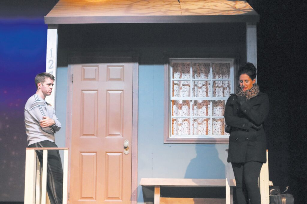 """HEARTFELT— Eric Pierce and Heather Smith are two of the actors portraying multiple roles in """"Almost, Maine,"""" playing on the indoor stage through Oct. 3 at the Conejo Players Theatre in Thousand Oaks. Courtesy of Mike McCauley"""